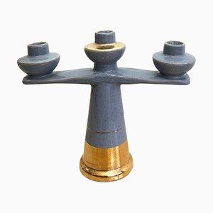 Griechischer böhmischer Vintage Kerzenhalter aus Keramik & Blattgold, 1980er