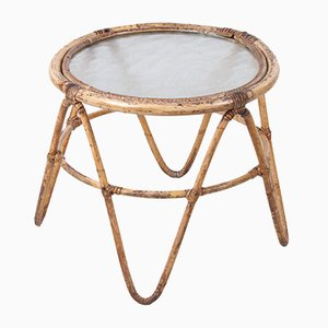 Vintage Bamboo Plant Table with Glass Top, 1960s