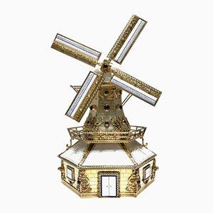 Dutch Handmade Silver Windmill Miniature with Music Box