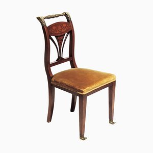 19th Century Empire Marquetry and Bronze Side Chair, Italy