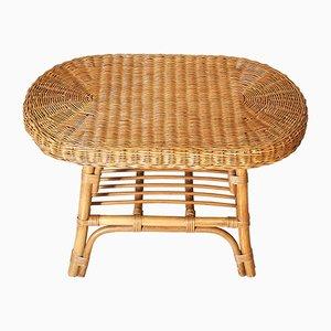 Oval Rattan Coffee Table, 1960s