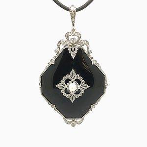 Belle Epoque Platinum Onyx & Diamond 0,94 Carat Necklace Pendant, 1920
