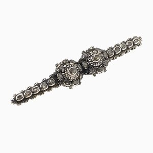 Antique Victorian Silver Brooch with Rose Cut Diamonds, 1880