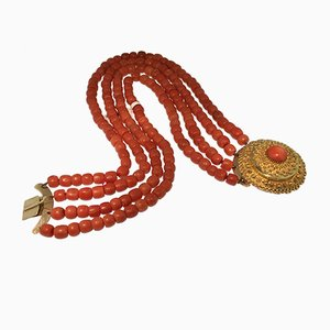 Antique Dutch Gold Necklace Costume Jewelry in Coral, 1880