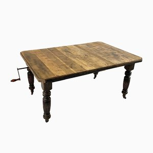 Antique English Extending Pine Wind Out Dining Table