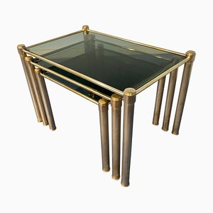Mid-Century Modern Italian Brass & Smoked Glass Nesting Tables, 1970s, Set of 3