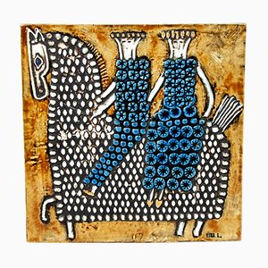 Schwedischer Wandteller aus Keramik von Lisa Larson, 1967
