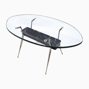 Mid-Century Oval Glass Coffee Table with Portoro Marble, Italy