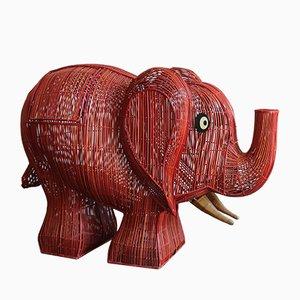 Elephant Italian Wicker Container, 1960s