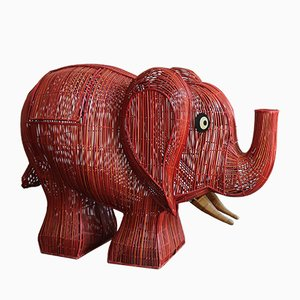 Italienischer Elefant Korbgeflecht Behälter, 1960er
