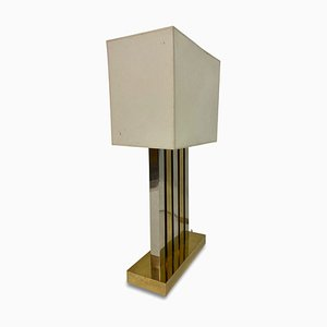 Large Brass and Chrome Table Lamp, 1970s