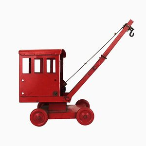 Mid-Century Modern Miniature Crane in Red Steel