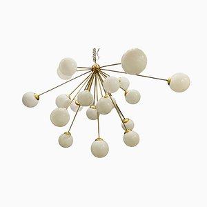 Large Space Age Opaline Glass Sputnik Chandelier with 21 Lights