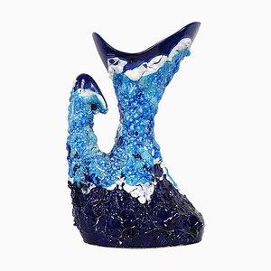 Hohe Mid-Century Modern Blaue Keramikvase von Vallauris, France