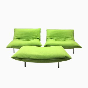 Modular Pillow Sofa Chairs & Footstool from Ligne Roset, Set of 3