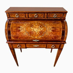 Stylish Office Cylinder Desk with Burr Veneer