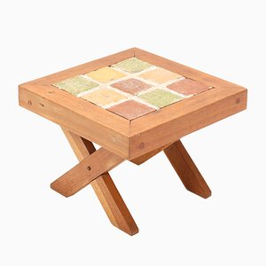 Mid-Century Modern French Oak Side Table with Tiles, 1960s