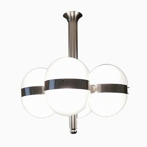 Mid-Century Frosted Glass and Nickel-Plated Brass Ceiling Lamp Sergio Mazza Tetraclio for Artemide, Italy, 1960