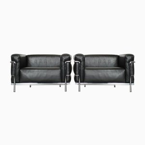 Cassina LC3 Le Corbusier Leather Armchairs, Set of 2