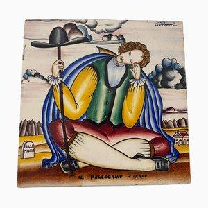 Polychrom Keramikfliese von Gio Ponti für Richard Ginori
