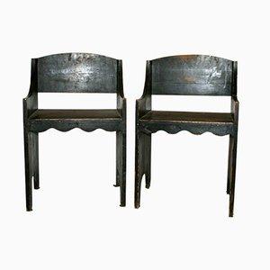 Grüne Armlehnstühle aus Holz von Vittorio Zecchin, 1940er, 2er Set