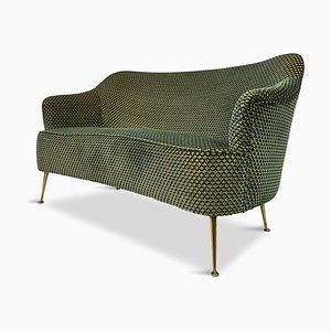 Mid-Century Italian 2-Seater Sofa in Green Velvet, 1950s