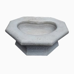 Bird Bath in White Marble with Iron Wall Anchor, 1900s