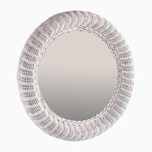 Small Round Rattan Mirror in White