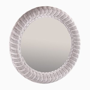 Großer runder Rattan Spiegel in Weiß mit 62 CM Durchmesser
