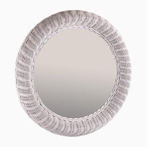 Large Round Rattan Mirror in White with 62 CM Diameter
