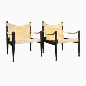 Safari Chairs by Erik Worts for Niels Eilersen, 1960s, Set of 2