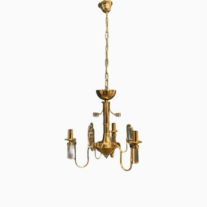 Mid-Century Brass & Crystal Chandelier