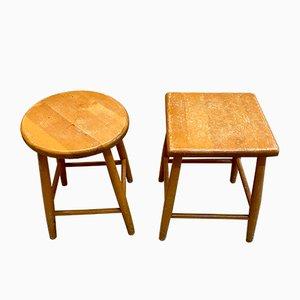Vintage Holzhocker, 1960er, 2er Set