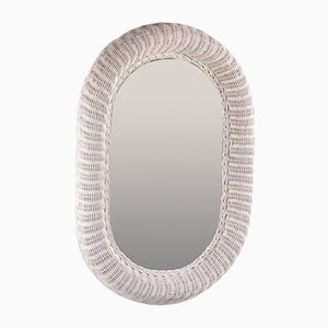 Large Oval Rattan Mirror in White with 72 CM Diameter