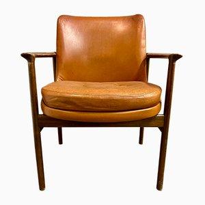 Scandinavian Leather Lounge Chair by IB Kofod Larsen, 1950s