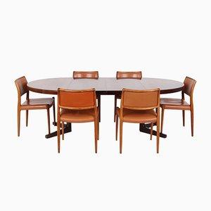 Dänischer Palisander No. 80 Tisch und 6 Stühle von Niels Otto für JL Møllers, 7er Set
