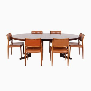 Danish Rosewood No. 80 Table and 6 Chairs by by Niels Otto for J. L. Møllers, Set of 7