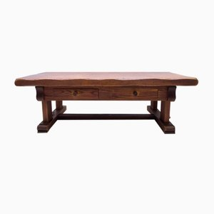 Large French Rustic Coffee Table in Solid Oak, 1960s