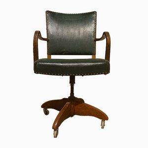 Bürostuhl aus dunkel gebeizter Buche im Stil von Fritz Hansen, 1930er