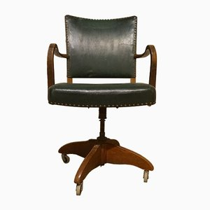 Office Chair in Dark Stained Beech Wood in the Style of Fritz Hansen, 1930s