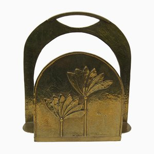 Brutalist Style Brass Magazine Rack with Floral Elements, 1970s