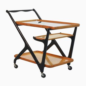 Tea Trolley with Serving Tray in Black Lacquered Beechwood by Cesare Lacca for Cassina, Italy, 1970s