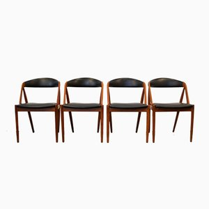 Model 31 Teak Dining Chairs by Kai Kristiansen for Schou Andersen, Set of 4