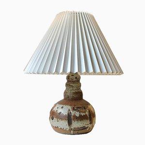 Danish Stoneware Table Lamp with Earthy Drip Glazes, 1970s