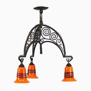 Französische Art Deco Lampe mit Lampenschirmen von Loetz Tango