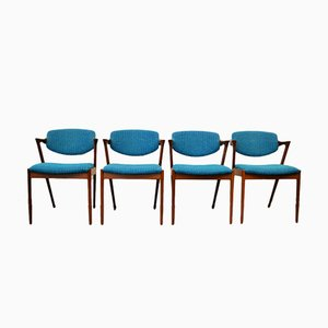 Model 42 Teak Dining Chairs by Kai Kristiansen for Skovmand & Andersen, Set of 4