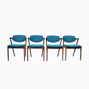 Model 42 Teak Dining Chairs by Kai Kristiansen for Skovmand & Andersen, Set of 4