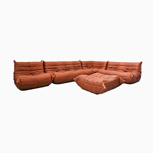Leather Togo Sofa Modules by Michel Ducaroy for Ligne Roset, Set of 5