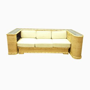 German Art Deco Rattan & Bamboo Sofa or Daybed from Arco, 1940s