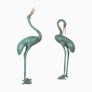 Crane Bird Brunnen oder Statuen aus patinierter Bronze, 2er Set
